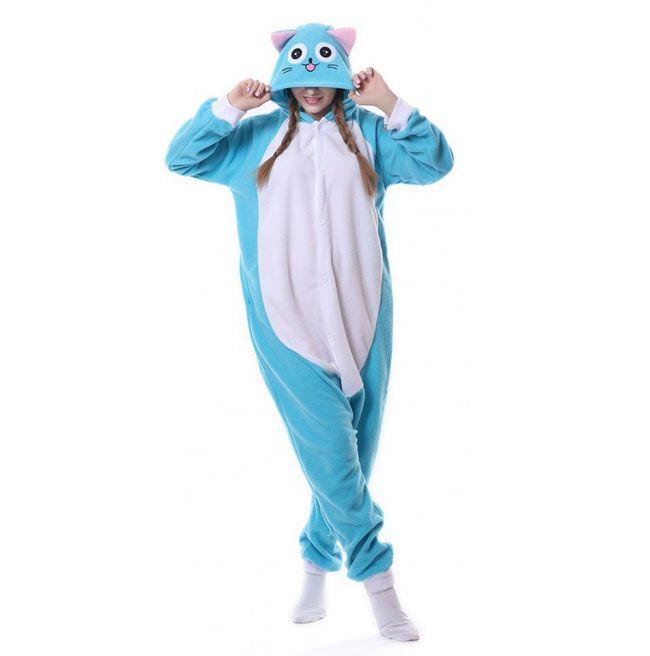 Пижама Кигуруми Кошка Голубая